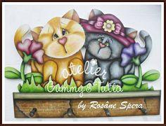 "Kit de pintura ""CABIDEIRO DE GATOS""   Atelier Gummy & Tutta   Elo7"