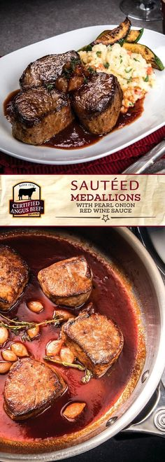 Certified Angus Beef®️️️️️️️️️️ brand Sautéed Medallions with Pearl Onion Red Wine Sauce: made with the best bottom sirloin medallions & petite pearl onions in a reduced red wine sauce with tomato paste, pearl onions, thyme, & other spices Carne Angus, Boeuf Angus, Angus Beef, Best Beef Recipes, Ground Beef Recipes Easy, Beef Recipes For Dinner, Cooking Recipes, Beef Medallions, Filet Mignon