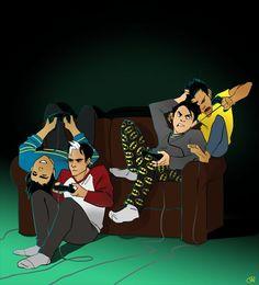 Dick Grayson, Jason Todd, Tim Drake, Damian Wayne.: