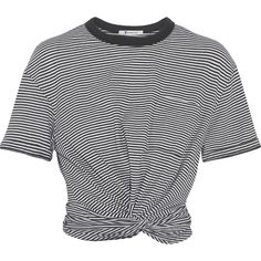 T by Alexander Wang Cropped twist-front striped cotton-jersey T-shirt ($175) ❤ liked on Polyvore featuring tops, t-shirts, crop top, t shirt, black, black and white stripe tee, striped t shirt, cotton jersey and stripe t shirt