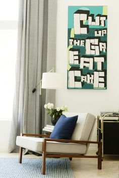 Love. Room done by @emily henderson. Favorites: this lamp, the chair, rug, and the big blue couch.
