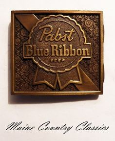 Vintage 1975 PABST BLUE RIBBON BEER BELT BUCKLE by Bergamot Brass Works