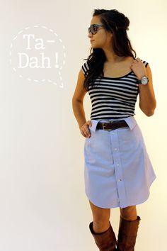 Ninth and Bird: DIY Dress Shirt Skirt // Thift Store Makeover