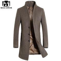 2016 Новый Зима Мужчины Шерсти Пальто Мужчины Длинную Траншею Slim Fit Пальто Высокого Качества для Мужчин, Пальто Мода Траншеи Верхняя Одежда MJ340 купить на AliExpress