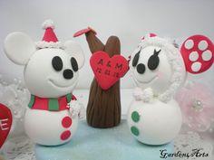 Custom Lovely Snowman Couple Wedding Cake Topper