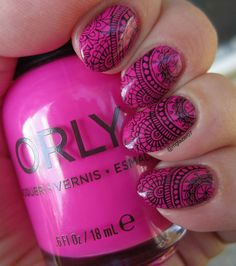 Orly 'Risky Business' with stamping from Bundle Monster BM-S105.
