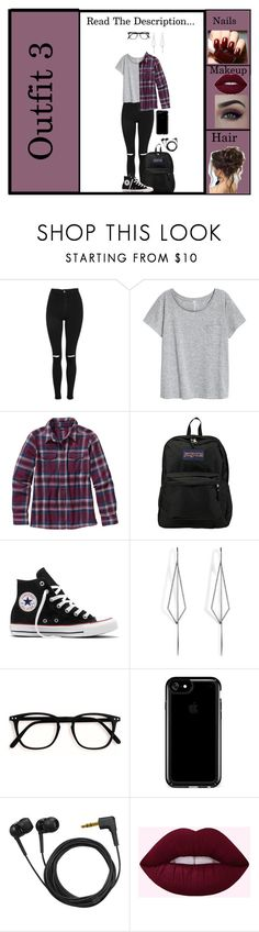 """Outfit 3 RTD ...!!!"" by slytherin-emu-loner ❤ liked on Polyvore featuring Topshop, Patagonia, JanSport, Converse, Diane Kordas, Speck and Sennheiser"