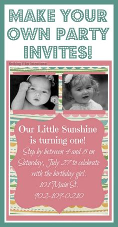 Make your own birthday invitations! (Tutorial) So cute, easy, and frugal!