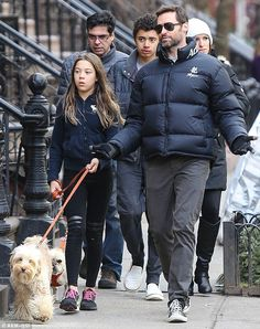 Quality time: Hugh Jackmanwas joined by children Oscar and Ava for a brisk stroll through...