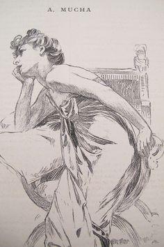 1899 ORIGINAL ALPHONSE MUCHA ILLUSTRATION, BOUDOIR PRINT, REVERIE | eBay