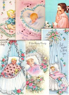 Vtg NEW BABY CONGRATULATIONS Greeting Cards Lot/6 UNused Most w/ Glitter or Gold