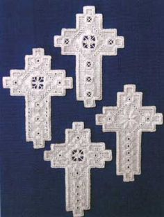 Four more lovely cross designs from Satin Stitches.  The models were stitched on 25-count White Colmar.  Our suggested substitute is 25-count White Lugana (3835-100).  The thread required for 25-count is DMC Size