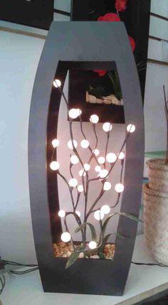 lampara de madera mdf choco con decorado de varas copos chicos y grandes de leds de