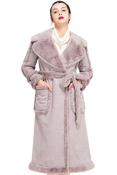 YIGELILA Women's Winter Suede Sheepskin Coat Belted Long Fur Outwear -- Startling review available here  : Plus size coats Sheepskin Coat, Suede Coat, Plus Size Coats, Model Body, Body Size, How To Wear, Fur, Shopping, Winter