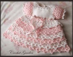 Pink and White Baby Dress free crochet graph pattern