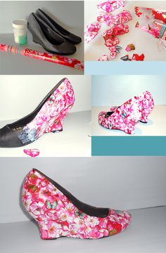 Shoe redo! Here's how:   1.Supplies: pair of shoes, modge podge, wrapping paper with flowers on   2.cut the flowers out in different shapes and sizes   3.Start with the bigger parts, and modge podge the flowers onto the shoe   4.When the modge podge has dried, paint another layer over for durability