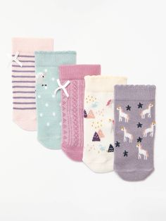 BuyJohn Lewis & Partners Baby Cotton Rich Unicorn Socks, Pack of 5, Multi, 0-3 months Online at johnlewis.com