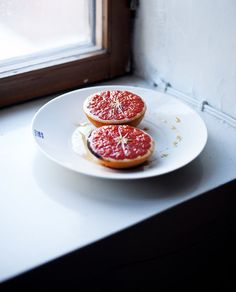 Broiled ruby grapefruits for a wintery breakfast.