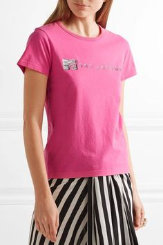 Marc Jacobs - Embellished Cotton-jersey T-shirt - Pink -