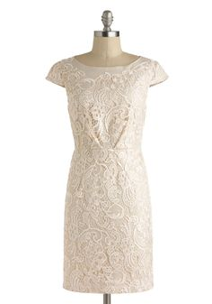 Long Time No Filigree Dress by Darling - Cotton, Mid-length, Cream, Solid, Exposed zipper, Lace, Daytime Party, Sheath / Shift, Cap Sleeves, Boat, Wedding, Graduation