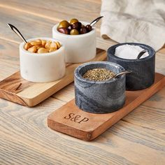 With two beautifully handcrafted marble bowls nestled into a solid acacia wood tray, this set is the perfect way to serve everything from olives and dips to salt and pepper. Ideal for entertaining, the set includes two silver spoons for serving an… Condiment Sets, Kitchenware, Tableware, Marble Coasters, Mark And Graham, Wood Tray, Ceramic Plates, Marble Plates, Teller
