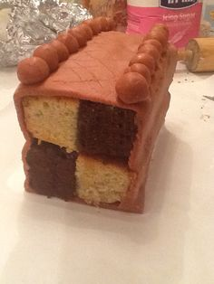 Chocolate and vanilla battenburg...made by me!
