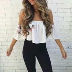 Best Women Shoes on Style Me: nice 39 Off Shoulder Outfits for You to Look Fabulous Komplette Outfits, Spring Outfits, Trendy Outfits, Fashion Outfits, Fashion Sites, Summer Outfits 2018 Teen, Sexy Casual Outfits, Summer Outfit For Teen Girls, Hippie Outfits