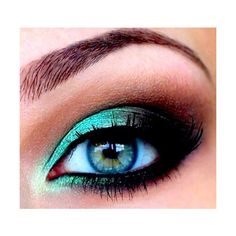 Make-up / teal smokey eye found on Polyvore