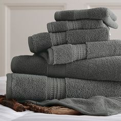 Spa Collection 6-PC Egyptian Cotton Luxury 650 GSM Towel Set in Gray