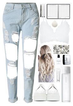 """💭₩hï+€💭"" by niamtz on Polyvore featuring WithChic, New Look, Underground, SUQQU, L:A Bruket, Bobbi Brown Cosmetics, Dr Russo, House of Doolittle and Faber-Castell"
