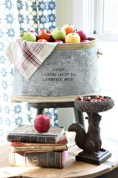Decorating for fall with vintage items and fresh apples - love that squirrel holding a bowl of acorns Apple Harvest, Harvest Time, Apple Decorations, Magnolia Farms, Savvy Southern Style, Autumn Inspiration, Autumn Ideas, White Pumpkins, Decorating Your Home