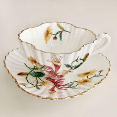3758 on Alexandra shape, 1887 China Cups And Saucers, Teapots And Cups, China Tea Cups, Teacups, Vintage China, Vintage Tea, Antique Dishes, Mad Hatter Tea, Tea Service