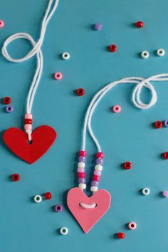 Friendship Heart Necklaces: Kiddos will love making these special heart necklaces for their best friends. Click through to find more easy and cute Valentine's Day crafts to make with kids.