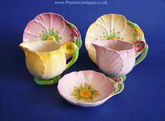 Yellow and Pink Buttercup condiment set : Carlton Ware Antique China, Vintage China, Fairy Tea Parties, Carlton Ware, Antique Perfume Bottles, Shabby Chic Kitchen, Chocolate Pots, Vintage Pottery, China Porcelain