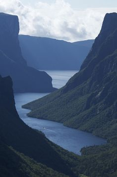 Western Brook Pond, Gros Morne National Park, Newfoundland and Labrador, Canada Newfoundland Canada, Newfoundland And Labrador, Newfoundland Icebergs, Nova Scotia, Places To Travel, Places To See, Quebec, Gros Morne, Canadian Travel