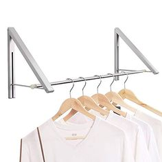 Anjuer Wall Mounted Drying Rack Clothes Hanger Folding Wall Coat Racks Aluminum Home Storage Organiser Space Savers Wall Mounted Drying Rack, Wall Racks, Wall Hanger, Wall Mounted Shelves, Clothes Rod, Clothes Drying Racks, Clothes Hanger Rack, Hanging Clothes, Clothing Racks