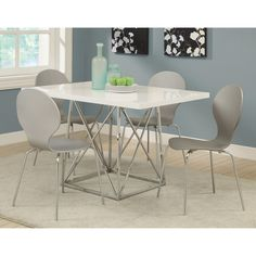 Love it Monarch Glossy White 5 Piece Modern Dining Set with Grey Bentwood Stools - $429.99 @hayneedle.com