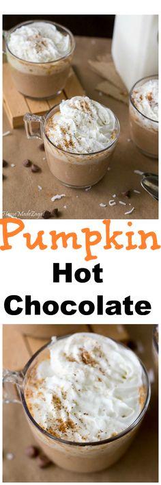 Pumpkin Hot Chocolate - A creamy pumpkin alternative to this popular hot beverage #HomeMadeZagat