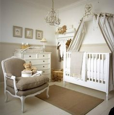 White, beige and gold nursery