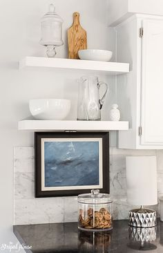 white floating shelves installed in a traditional contemporary kitchen refresh Contemporary Home Decor, Contemporary Design, White Floating Shelves, Kitchen Layout, Kitchen Decor, Kitchen Design, Kitchen Ideas, Home Decor Trends, Decor Ideas