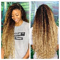 Faux Locs Hairstyles, Black Girl Braided Hairstyles, Ethnic Hairstyles, Baddie Hairstyles, Twist Hairstyles, American Hairstyles, Faux Locs Blonde, Ombre Faux Locs, Faux Locs Curly Ends
