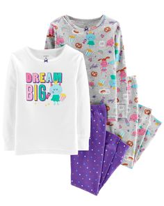 Let her mix and match with these cute PJs! Carter's cotton PJs are not flame resistant. But don't worry! They're designed with a snug and stretchy fit for safety and comfort. Baby & Toddler Clothing, Toddler Outfits, Girl Outfits, Babies Clothes, Baby Girl Pajamas, Carters Baby Girl, Toddler Pajamas, Cotton Pjs, Girls 4