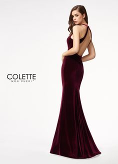 Colette for Mon Cheri CL21705 - Velvet Deep V-neckline Column silhouette with fluted skirt Fitted bodice Open back