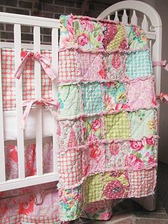 Rag Crib Quilt Pink Love Mix Girl ALL door southerncharmquilts, $125,00