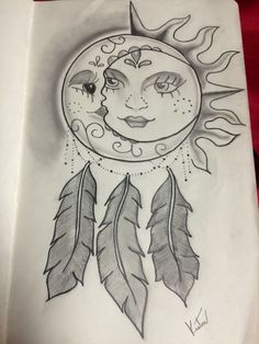 Sun and Moon Dreamcatcher Tattoo drawn my myself, dedicated to my best friend <3