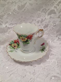 Hand Painted Wales China, Manufactured in Japan in the 1950's. Demitasse Cup and Saucer, Small and Sweet.
