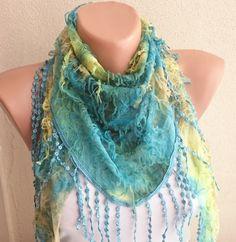 SALE Green Triangular Scarf Shawl Headband by ModernScarfPoint