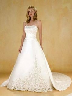 A-line Strapless Cathedral Train Satin Wedding Dress For Brides with Embroidery