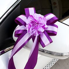 Silk rose+ribbon flower decoration for car wedding car decoration ...