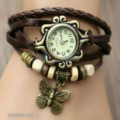 Top Seller Newest Lady Fashion Weave Wrap Around Retro Leather Bracelet Watch!vintage Genuine Leather Bracelet Watch for Ladies! Butterfly Bracelet, Butterfly Pendant, Bohemian Accessories, Fashion Accessories, Steampunk Mode, Steampunk Fashion, Steampunk Lamp, Fashion Goth, Fashion Trends